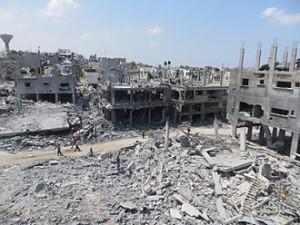 beit hanoun area of gaza after   israeli  bombing  of 2014