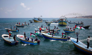 Boat carrying patients and students sails towards Europe aiming to break Israel's blockade on Gaza, at the sea in Gaza