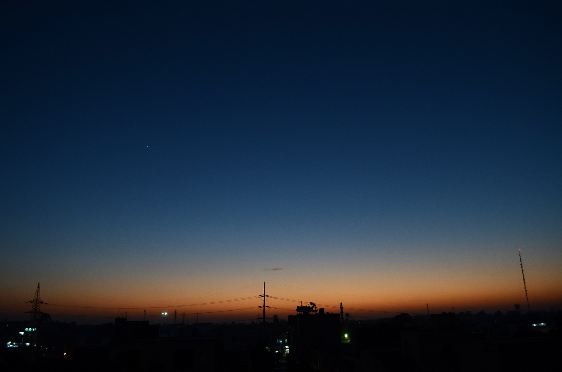Photo by Author showing the bright Planet Venus in the sunset sky of Lahore